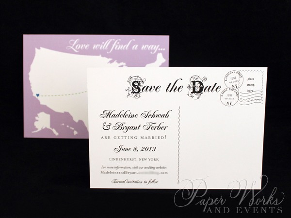 Cute Fun Long Distance Theme Post Card Save the Date 1 paperworksandevents.com