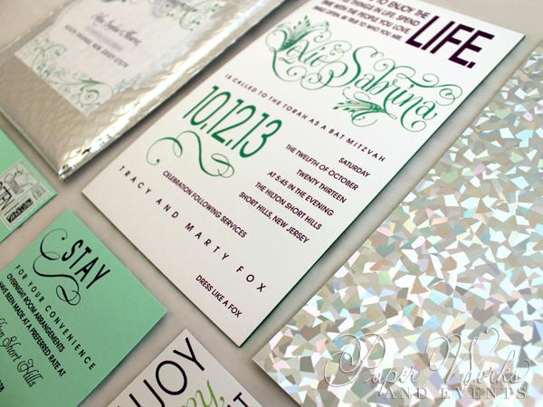 Foilstamped Edge Painted Holographic Invitation Bubble Mailer 3 paperworksandevents.com