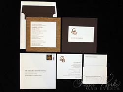Modern Organic Layered Pocket Cork Invitation 5 paperworksandevents.com