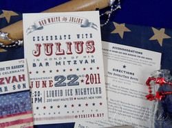 4th of July Bar Mitzvah Invitation 9 letterpress paperworksandevents.com