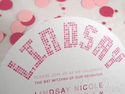 Cute Pink and Red Polka Dot Circle Shimmer Paper Invitation 3 paperworksandevents.com