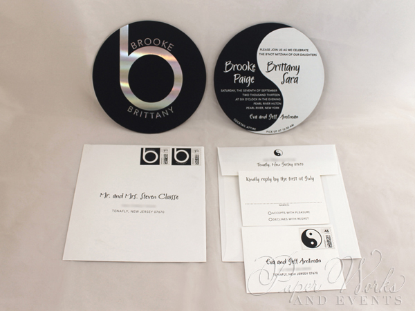 Ying Yang Double Sided Foil Stamped Beats by Dre Invitation 2 Custom Stamps paperworksandevents