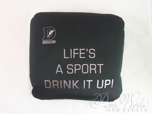 Sports Drink Bottle Label Invitation Microbead Pillow Giveaways 7 paperworksandevents.com