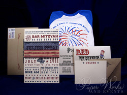 4th of July Bar Mitzvah Invitation 4 letterpress paperworksandevents.com