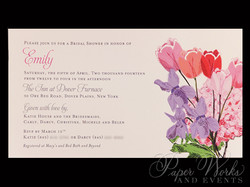 Spring shower invitation featured a bouquet of watercolored flowers