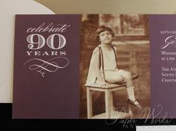 90th Birthday Invitation 4 paperworksandevents.com