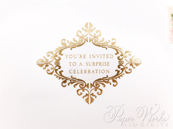 Joan Rivers surprise birthday invitation has gold foil stamping, gold gilded edges and a gold envelo