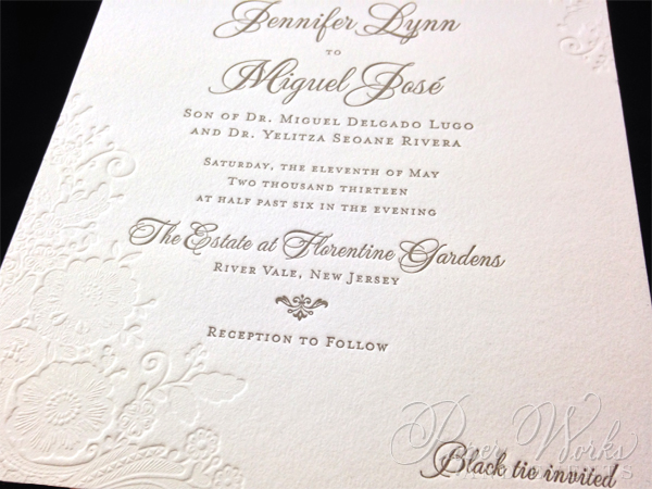Lace pattern letterpress Wedding Invitation (2)