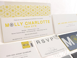 Modern Letterpress Foil Stamped Glitter Bat Mitzvah Invitation 3 paperworkandevents
