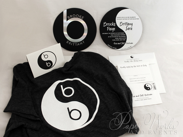 Ying Yang Double Sided Foil Stamped Beats by Dre Invitation 2 Custom Tshirts paperworksandevents