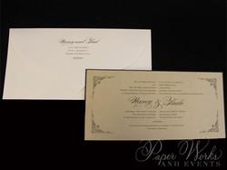 Elegant Bilingual Wedding Invitation with ornate corner designs