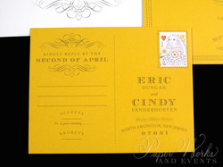 Custom Yellow Rehearsal Dinner Post Card  Invitation 3 paperworksandevents.com