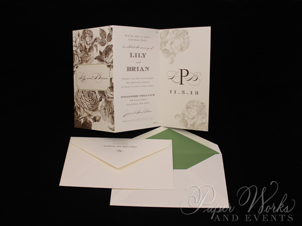 Elegant Floral Tri Fold After Wedding Celebration Invitation 3 paperworksandevents.com