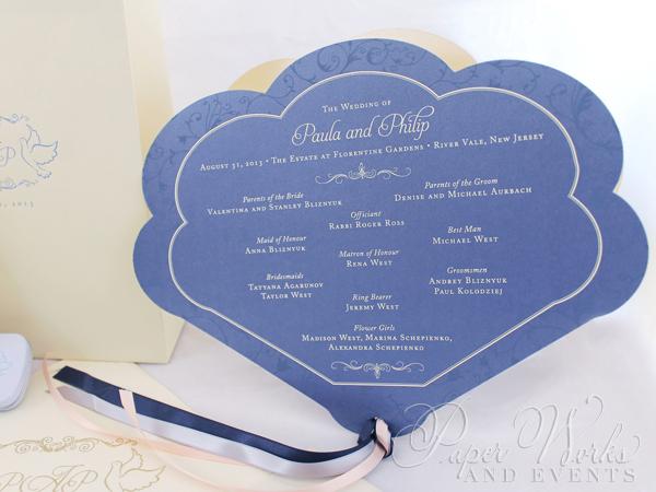 Fan Wedding Program Bellpress Printing paperworksandevents.com