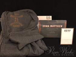 Baseball Ticket Bar Mitzvah Invitation Custom Hoodie Giveaway 1 paperworksandevents.com