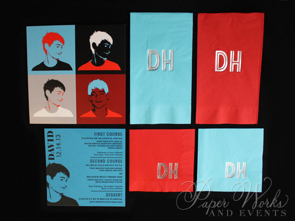 Pop Art Bar Mitzvah Invitation Suite Custom Stamps Menus Custom Napkins 1 paperworksandevents.com