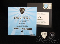 Custom Square Rock and Roll Guitar Pick Bar Mitzvah Kids Party Invitation 2 paperworksandevents.com