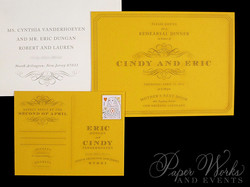 Custom Yellow Rehearsal Dinner Post Card  Invitation 4 paperworksandevents.com