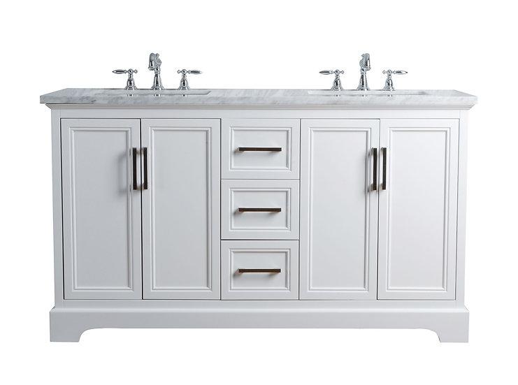 "Ariane 60"" White Double Vanity Dual Sinks"