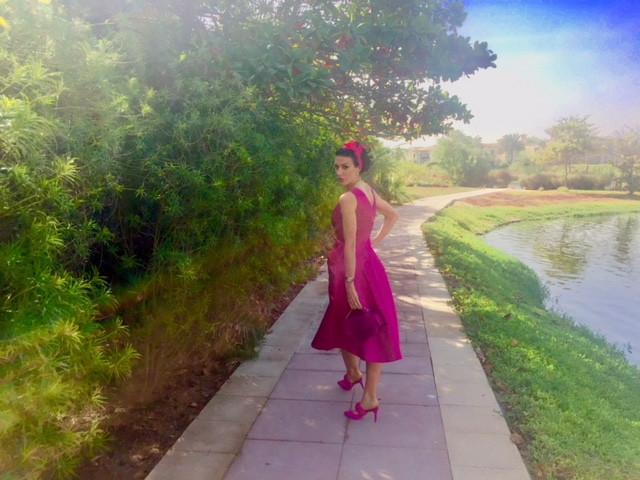 henrieta duffner, henrieta, duffner, fashion, designer, dubai,blogger, fashion blogger, blogger, dubai, dress. victoria secret, estelle, dress, long dress, plisse, skirt, dress, country dress,pink, white, studio, brand,