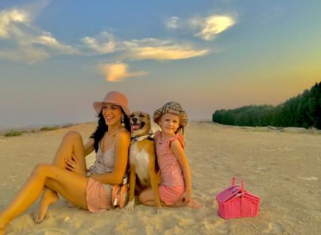 Dubai desert, family and dog.