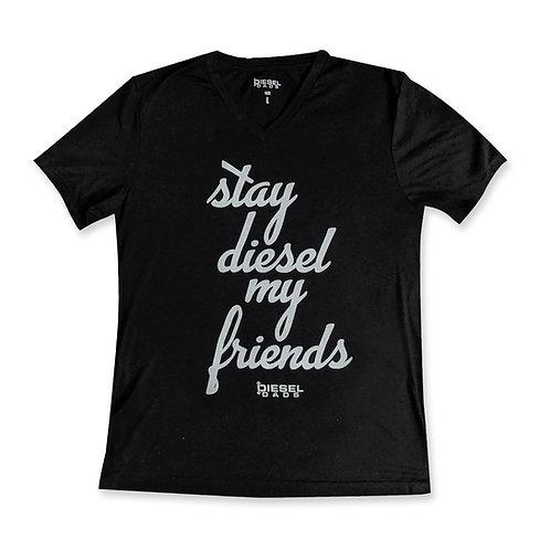 Stay Diesel V Neck - Black/Gray