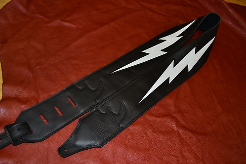 Carlino Double Bolt Leather Guitar Strap White