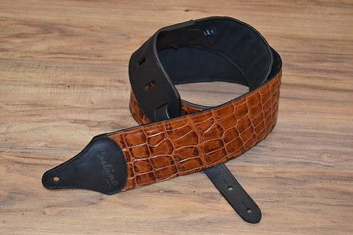 Carlino Caramel Crocodile Patterned Leather Strap