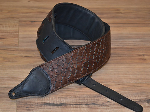 Carlino Fish Scale Patterned  Brown Leather Strap