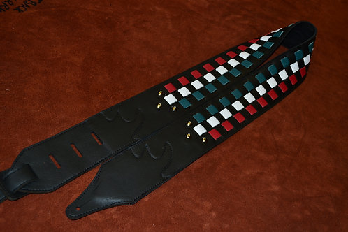 Carlino Custom Leather Italian Flag checkbrd Strap