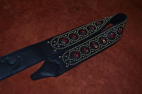 Carlino Custom New Red Maltese Cross Guitar Strap