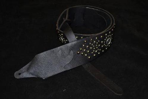Carlino Custom Galaxy Leather Guitar Strap Black