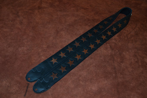 "Carlino Custom 2"" black leather star strap"