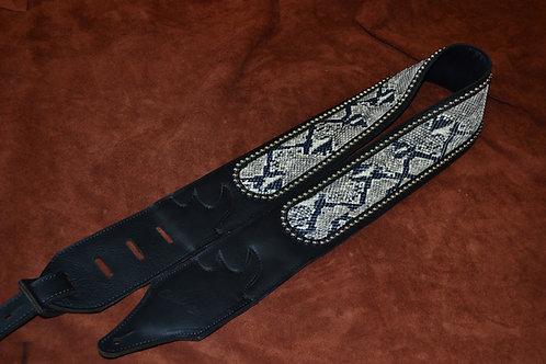 Carlino Custom Cartouche Snake Stud Leather Strap