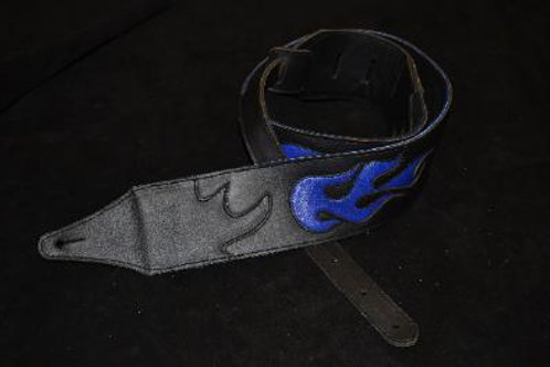 Carlino Custom Flame Leather Guitar Strap Blue