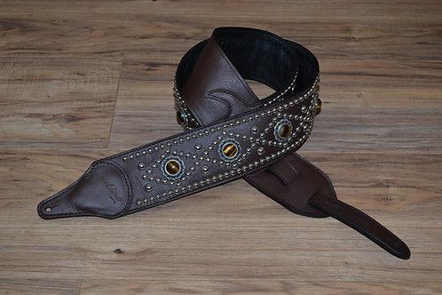 Carlino Triangle Tigereye Strap Brown Leather Guitar Strap
