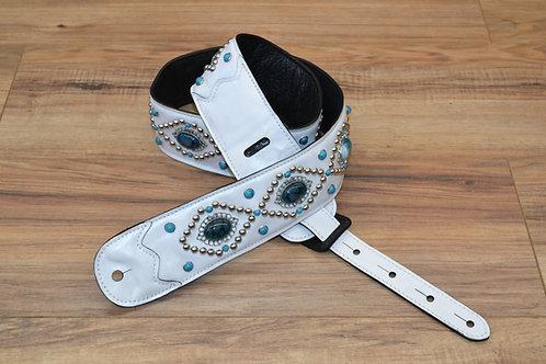 Carlino Orianthi White Orbit Blue Dragon Vein Leather Guitar Strap