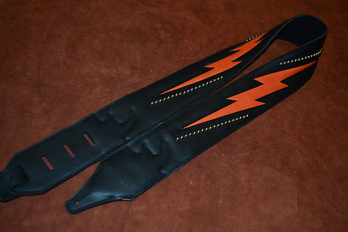 Carlino Stud Bolt Leather Guitar Strap, Orange
