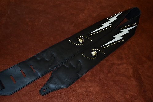 Carlino Double Bolt/Stud Leather Guitar Strap WH