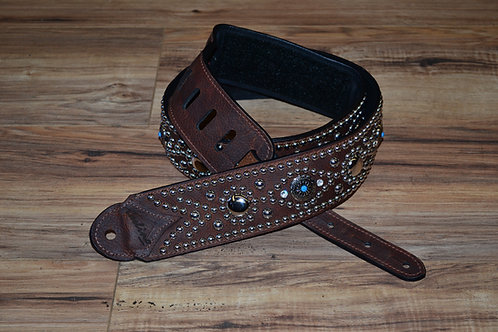 Carlino Kodiak Oiled Brown Leather Studden Strap