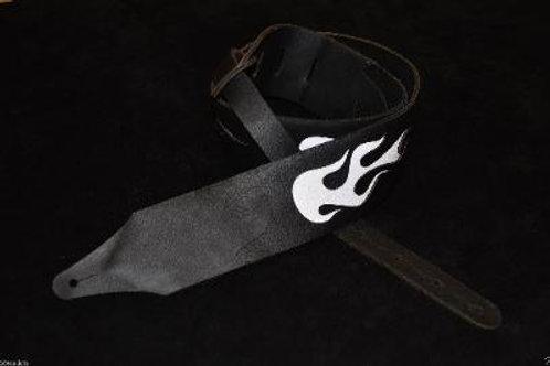 Carlino Custom Flame Leather Guitar Strap WHT