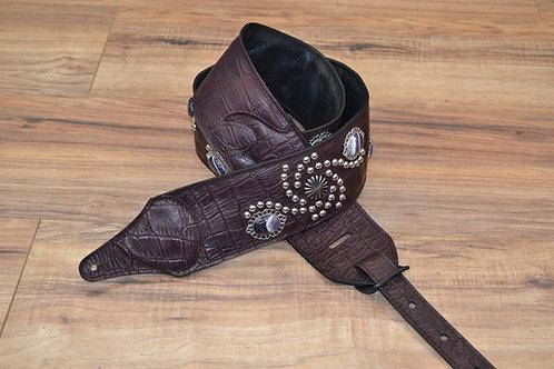 Carlino Wine Burgandy Leather Western Swirl Guitar Strap