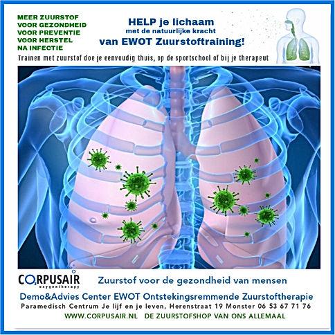 EWOT ontstekingsremmende zuurstoftherapie voor gezondheid, preventie en herstel na infectie.  Iinformatiespreekuren in het Demo&Advies Center Ewot ontstekingsremmende zuurstoftherapie. Maak een afspraak met Anita van der Wel, EWOT specialist Nederland. Gratis proefsssie EWOT in het paramedisch centrum Je lijf en je leven, Herenstraat 19,  Monster.