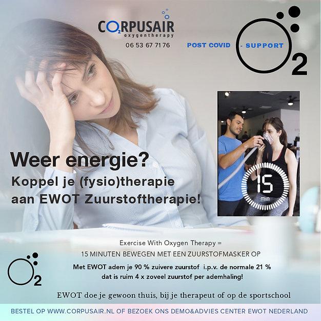 Zuurstoftherapie EWOT is een goede post corona support. Koppel je fyisotherapie aan EWOT zuurstoftherapie voor meer energie en sneller herstel.
