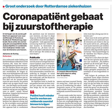 EWOT zuurstoftherapie helpt. Coronapatient gebaat bij zuurstoftherapie.
