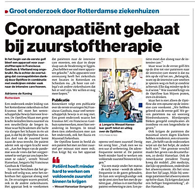 Coronapatien gebaat bij zuurstoftherapie.