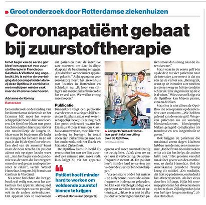 Coronapatient gebaat bij zuurstoftherapie.