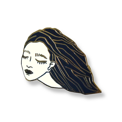 """GHOST LADY Black and Gold Enamel Pin 1.5"""""""