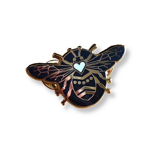 QUEEN BEE Black and Gold Enamel Pin