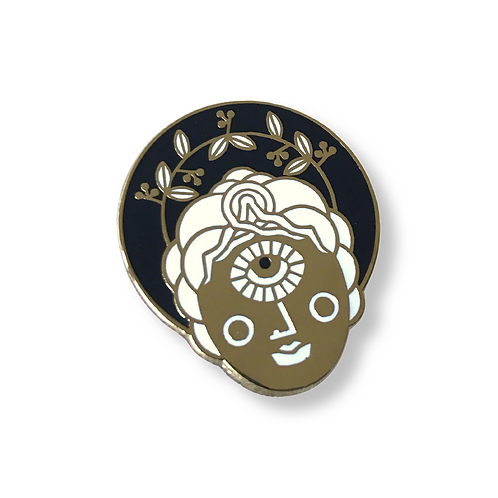QUEEN OF COINS Black and Gold Enamel Pin